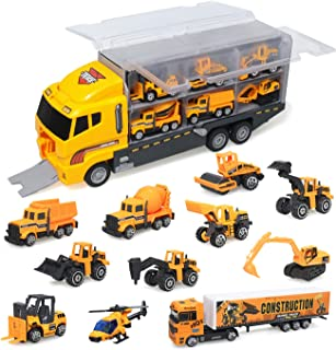 zoordo Construction Truck Toys Sets,11 in 1 Mini Die-Cast Truck Vehicle Car Toy in Carrier Truck,Gifts for 3 + Years Old Kids Boys Girls