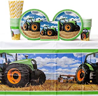 Tractor Time Birthday Party Supplies Pack for 16 Guests | Paper Straws, 16 Dinner Plates, 16 Luncheon Napkins, 16 Cups, and Table Cover | Farm Birthday Party Supplies | Barnyard Birthday Party