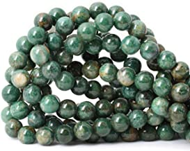 Qiwan 35PCS 10mm Natural African Jade Round Loose Stone Beads for Bracelet Necklace Earrings Jewelry Making Crafts Design Healing 1 Strand 15