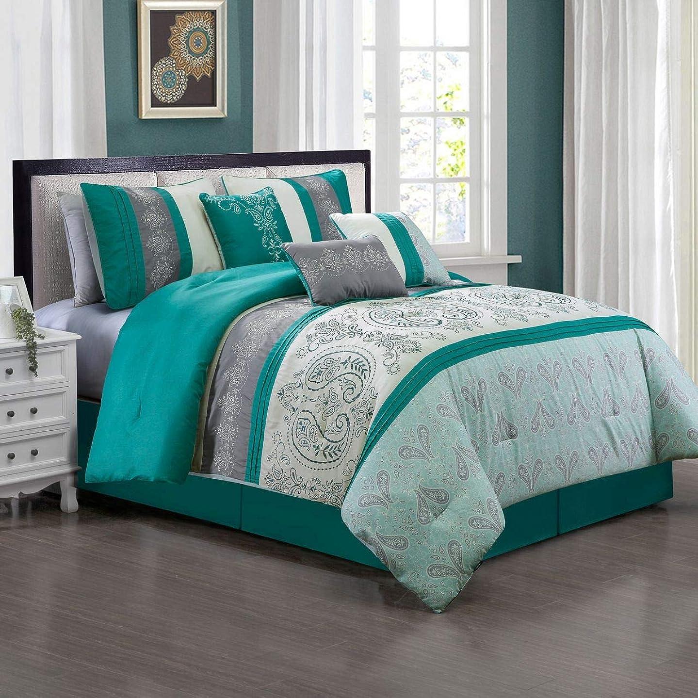 KingLinen 7 Piece Briallan Teal/Gray Comforter Set Queen