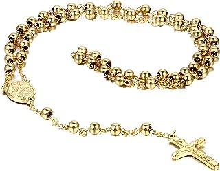 Flongo Men's Women's Vintage Stainless Steel 6mm Beads Black Jesus Christ Crucifix Cross Rosary Pendant Necklace,Catholic Rosary Beads Pray Necklace