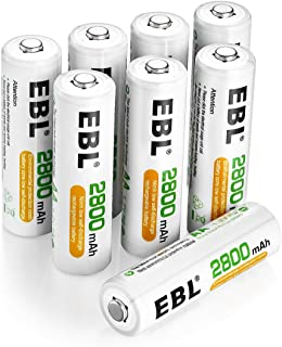 EBL 8 Pack AA Rechargeable Batteries 2800mAh Ni-MH Batteries, Battery Case Included