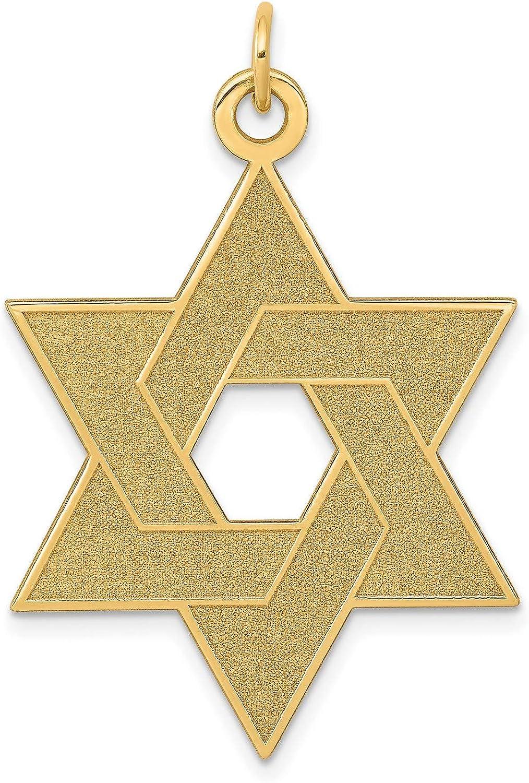14k Yellow Gold Laser Etched Star Of David Popular Superlatite 41 x mm Charm 27