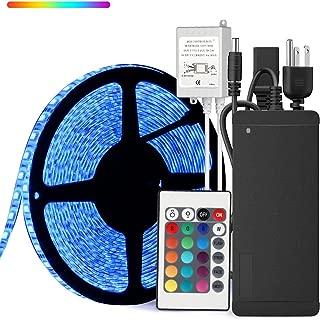 SUPERNIGHT 32.8ft 10M Waterproof Flexible Strip 600leds Color Changing RGB SMD5050 LED Light Strip Kit RGB 5M +24Key Remote+24V 5A Power Supply