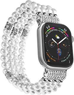 Imymax Replacement for Apple Watch Band 42/44mm Handmade Beaded Elastic Stretch Faux Pearl Bracelet Replacement iWatch Strap/Wristband for iWatch Series 4/3/2/1 - White for Women Girl