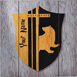 HARRY POTTER Personalized Hogwarts Hufflepuff Crest Wood Wall Decor Decoration Sign with Free Name Personalization - 10 inches x 10 inches