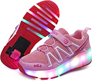 BY0NE USB Charging LED Light up Roller Skate Shoes Double Wheel Flashing Sneakers for Boys Girls Kids