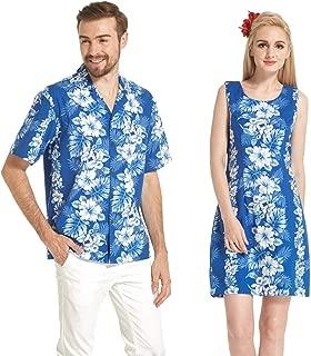 ハワイで作られたカップルマッチングルアウアロハシャツタンクドレスホワイトハイビスカスパネルブルー