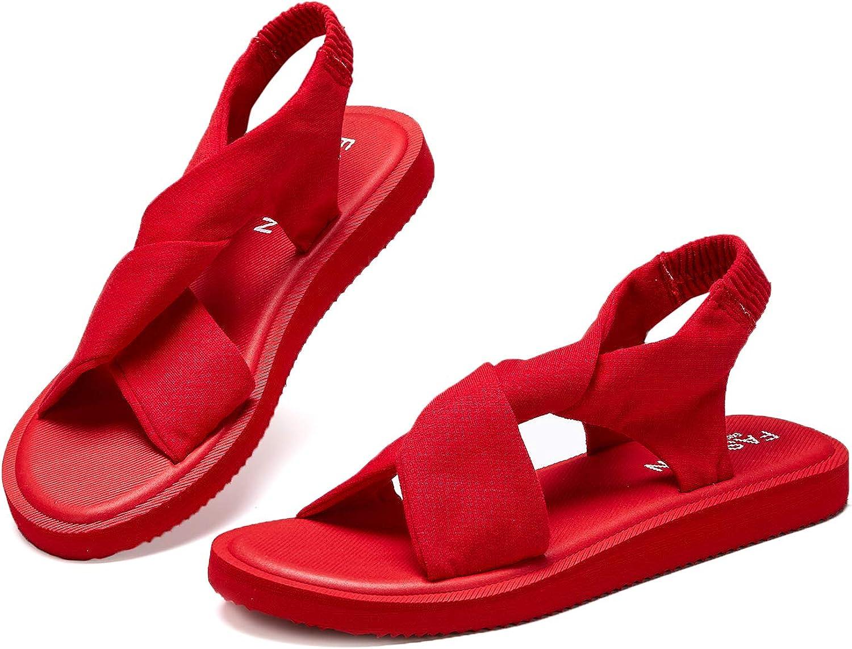 Hetios Womens Non-Slip Sling Back Lightweight Girls Flat Flip Flops Yoga Sandals Lightweight Sandals for Women Flip Flops for Women Big Girls Sandals