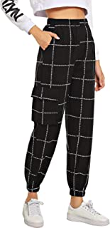Milumia Women's Elastic Waist Pocket Plaid Pants Casual High Waist Jogger Pant