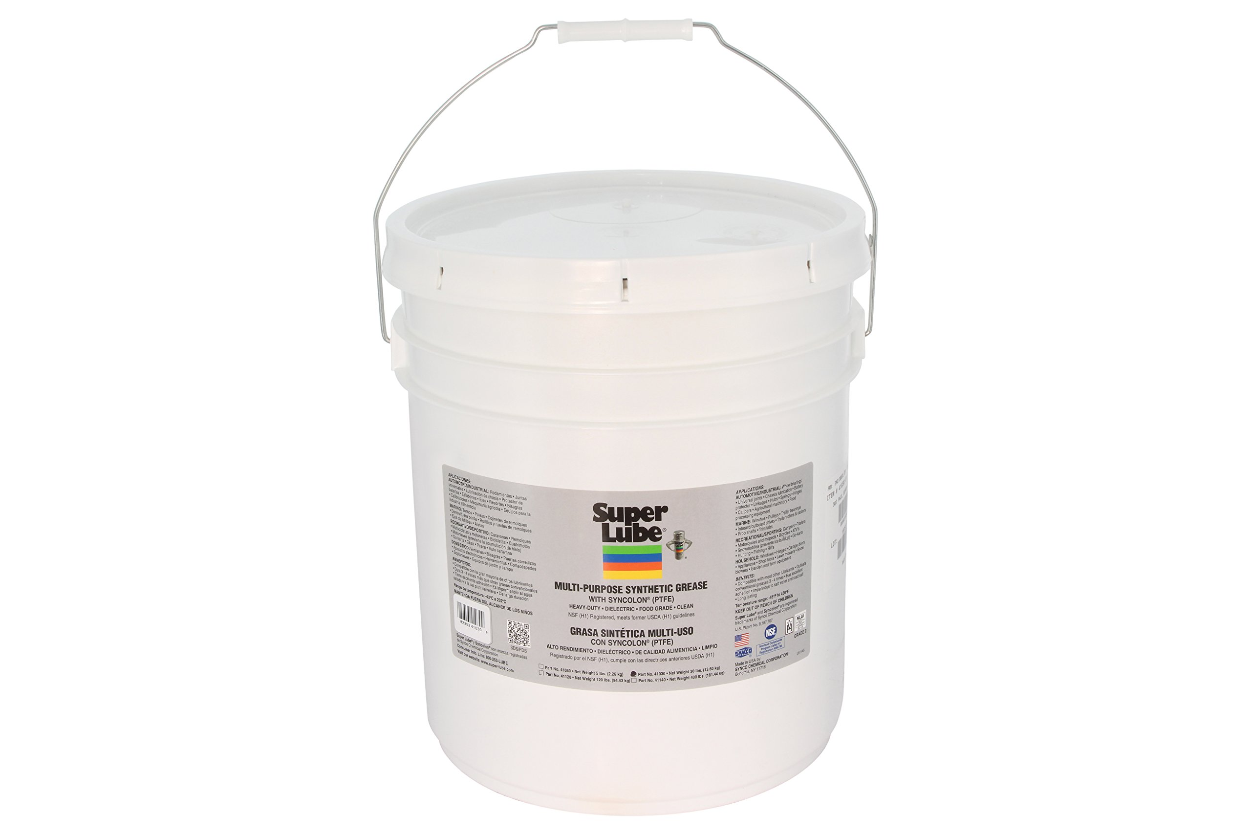 Super Lube 41030 Synthetic Grease (NLGI 2), 30 lb Pail, Translucent White