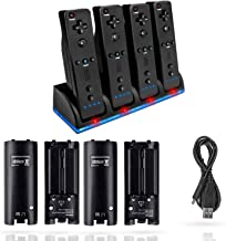 $21 » VTone Charging Station for Wii Remotes, 4 in 1 Controller Charger Dock with 4pcs 2800mAh Rechargeable Battery Pack and Cha...