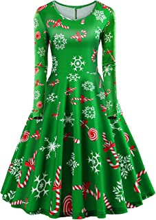 Christmas Dresses Women Long Sleeve Holiday Xmas Santa Printed Dress A-line Vintage Cocktail Party Swing Dress