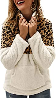 Womens Casual Sherpa Quarter Zip Pullover Sweatshirt Leopard Print Fluffy Fleece Tops Outwear