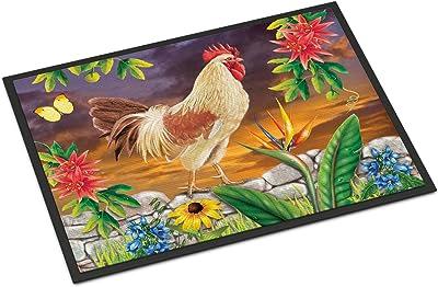 Caroline's Treasures White Rooster Door Mat doormats, Multicolor