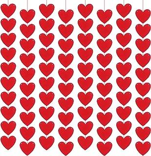 KATCHON 80 Hearts Felt Garland - Valentines Day Red Heart Hanging String Garland - Valentines Day Decorations - Valentine Decorations - DIY Required