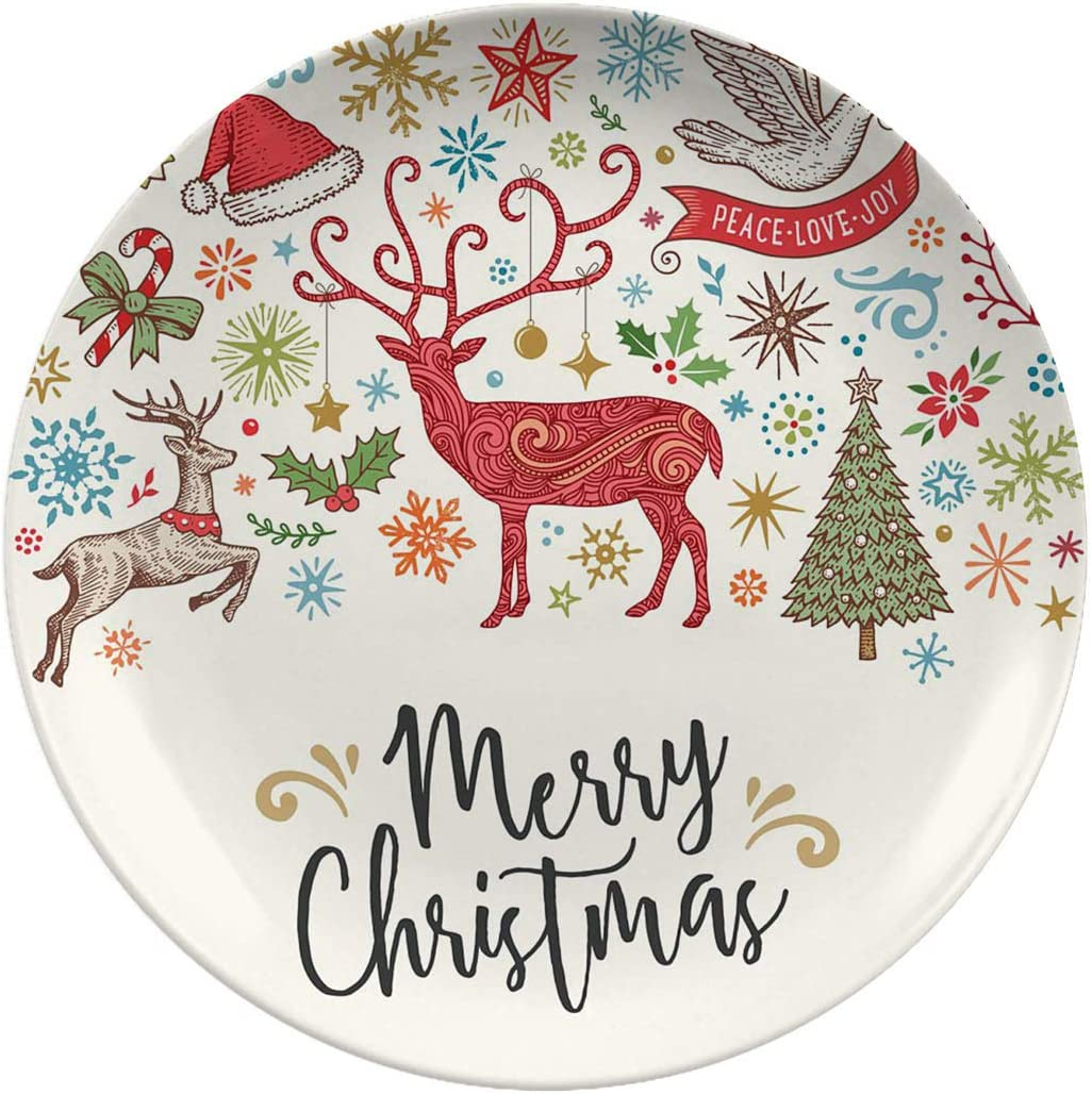 Christmas Porcelain Dinner Plates Card With Sales of SALE items from new works Drawn Hand Regular store