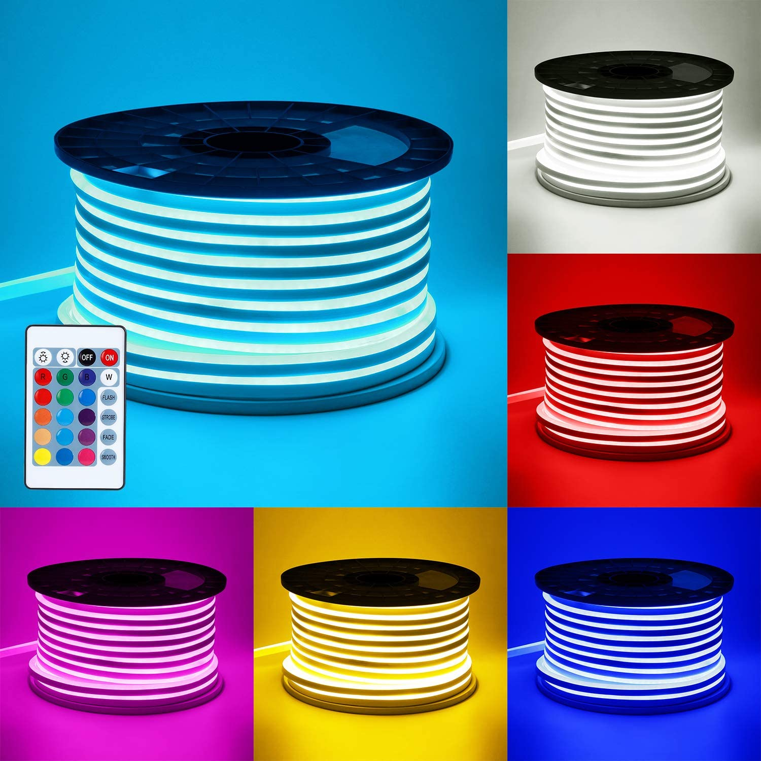 TORCHSTAR 65.6ft RGB LED Neon Rope Light, 18 LEDs ft, Waterproof DIY Strip Light, All Necessary Accessories Included, Indoor Outdoor Decorative Lighting for Home, Patio, Garden