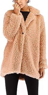 Kooosin Women's Warm Artificial Soft Wool Lapel Coat Jacket Winter Sherpa Rolls Wool Parka Outerwear