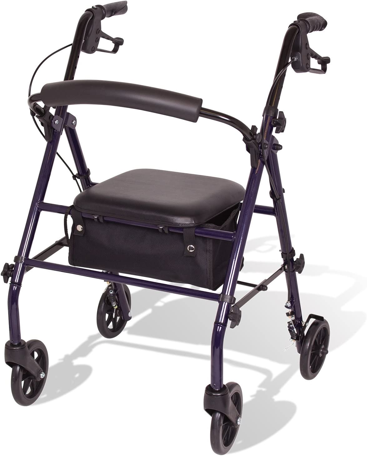 """Amazon.com: Carex Steel Rollator Walker with Seat and Wheels - Rolling  Walker for Seniors - Walker Supports 350lbs, Foldable, For Those 5'0"""" to  6'1"""" : Health & Household"""