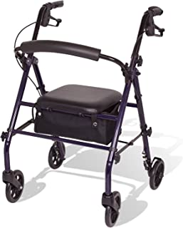 Carex Steel Rollator Walker with Seat and Wheels - Rolling Walker for Seniors - Walker Supports 350lbs, Foldable, For Those 5'0