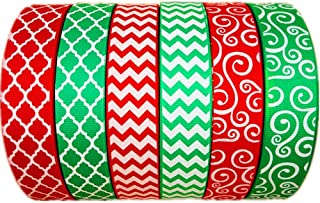30 Yards(6 X 5yds)/Roll Christmas White Chevron Swirl Quatrefoil Printed Green Red 1