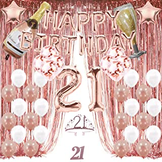 21st Birthday Decorations, 21 Birthday Party Supplies for Girl and Women Include Happy Birthday Balloons,Birthday Tiara & sash, Cake Topper
