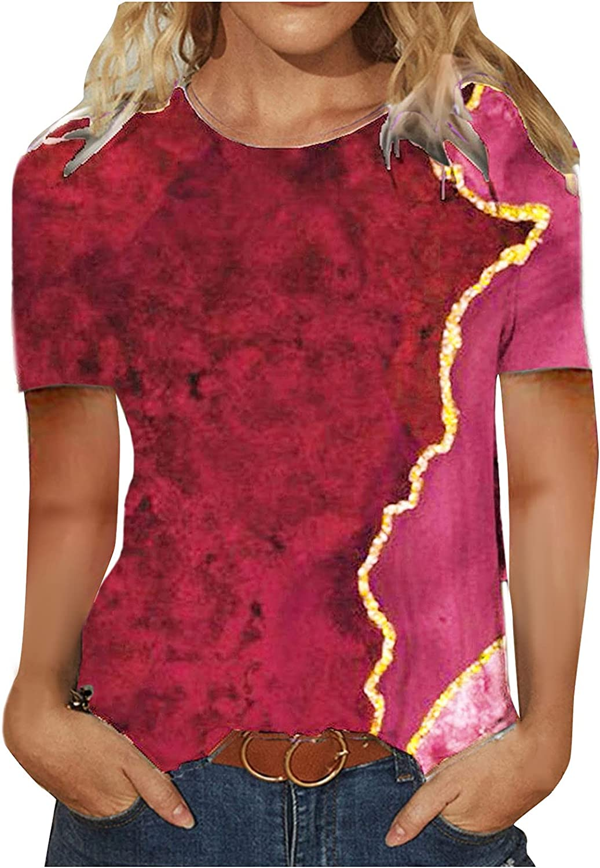 Sayhi Womens Loose Casual Summer T-Shirt Short Sleeve O Neck Tunics Shirts Vintage Texture Print Blouse Tops
