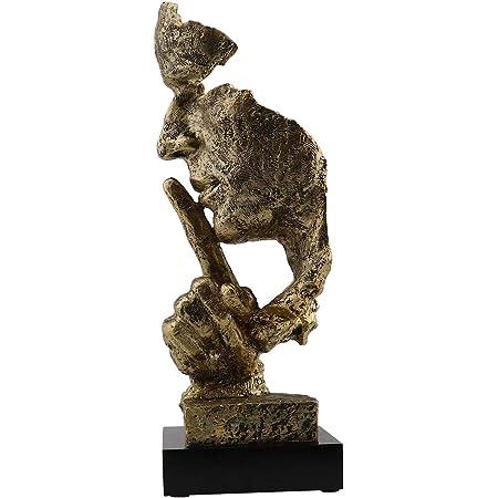 Moderne Résine Figure Statue Sculpture Abstraite Artisanat Art Silence Est Or Or à Main Rétro Sculpture Créative Ornements