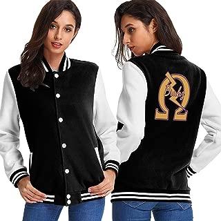 Womens Baseball Uniform Jacket, 1911 Omega QUE Dog ROO Nasty DAWG PSI PHI Sport Sweatshirt Sweater Coat