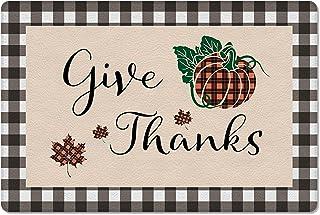 Meet 1998 Leather Doormat Thanksgiving Buffalo Pumpkin Fall Leaf Non-Slip Rubber Floor Mats Black Check Durable Outdoor En...