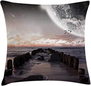 Ambesonne Space Throw Pillow Cushion Cover, Moon Fantasy Planet Beach with Old Pier with Sea Waves Fiction Eclipse Sky Landscape, Decorative Square Accent Pillow Case, 18