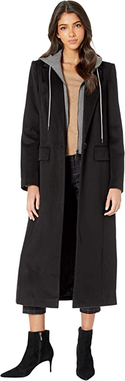 Wool Menswear Coat with Removable French Terry Hood