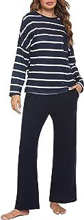 Meaneor - Pijama largo de dos piezas para mujer, camiseta de manga larga y pantalón largo a rayas
