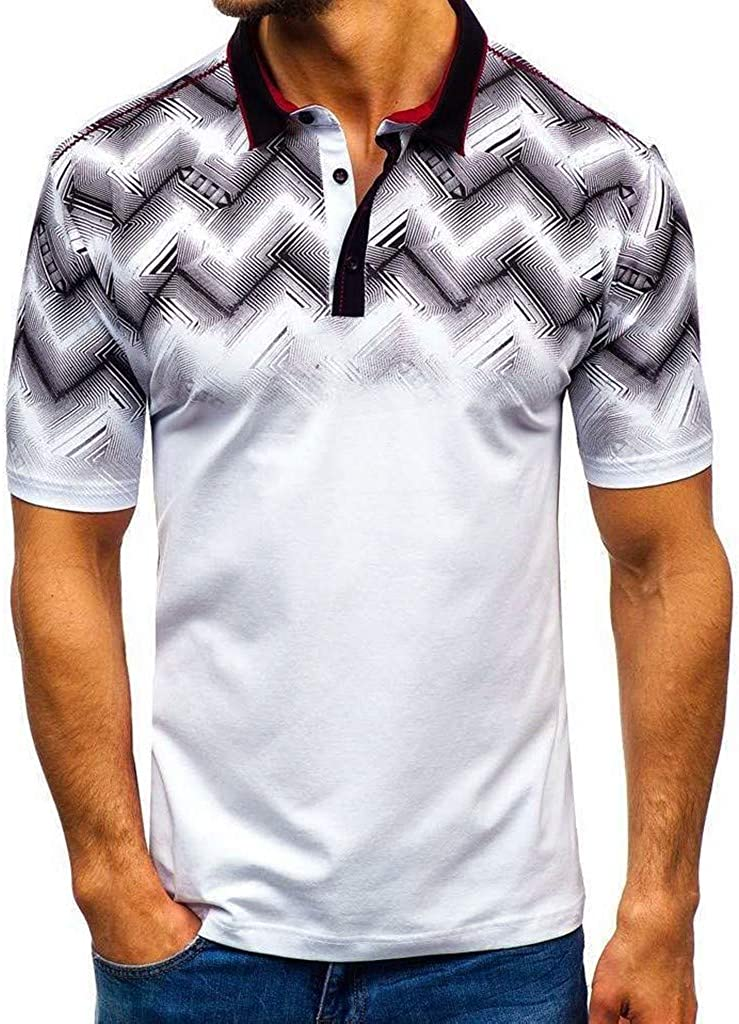 F_Gotal Polo Shirt for Mens, Men's Casual Short Sleeve V-Neck Polo Shirt Big and Tall Slim Fit Tees Blouse Tops