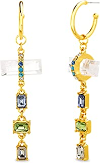 Steve Madden Yellow Gold Plated Multi Color Baguette Rhinestone Resin Crystal Dangle Hoop Earrings for Women