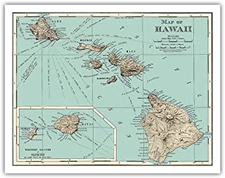 Pacifica Island Art Map of Hawaii - Rand McNally Atlas - Vintage Colored Engraved Cartographic Map c.1898 - Hawaiian Fine Art Print - 11in x 14in