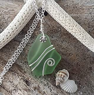 Handmade in Hawaii, wire wrapped peridot green sea glass necklace,