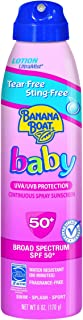 Banana Boat Baby Sunscreen Ultra Mist Tear-Free Sting-Free Broad Spectrum Sun Care Sunscreen Spray - SPF 50, 6 Ounce (Pack of 3)