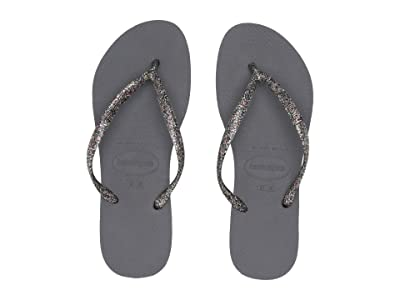Havaianas Slim Logo Metallic Flip Flops (Steel Grey/Graphite) Women