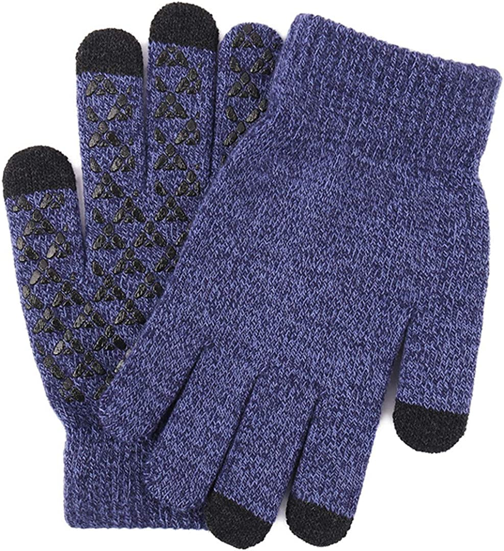 Touch Screen Knitted Gloves Men Women Thicken Wool Mitten Outdoors Anti-Slip Warmer Couple Gloves Men Navy blue