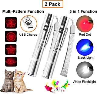 2 Pack Cat Chaser Pointer Light Toy,USB Rechargeable,3 in 1 Multi-Function&Multi-Pattern Function,Pets Dog Interactive Toys,Used as LED Flashlight,Cat Chase Pointer Light,UV.Great for Pet Exercise