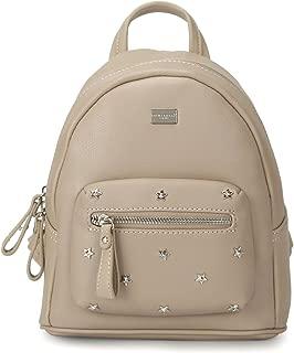 DAVIDJONES Women's Faux Leather Small Designer Star Rivet Studded Backpack Purse for Girls