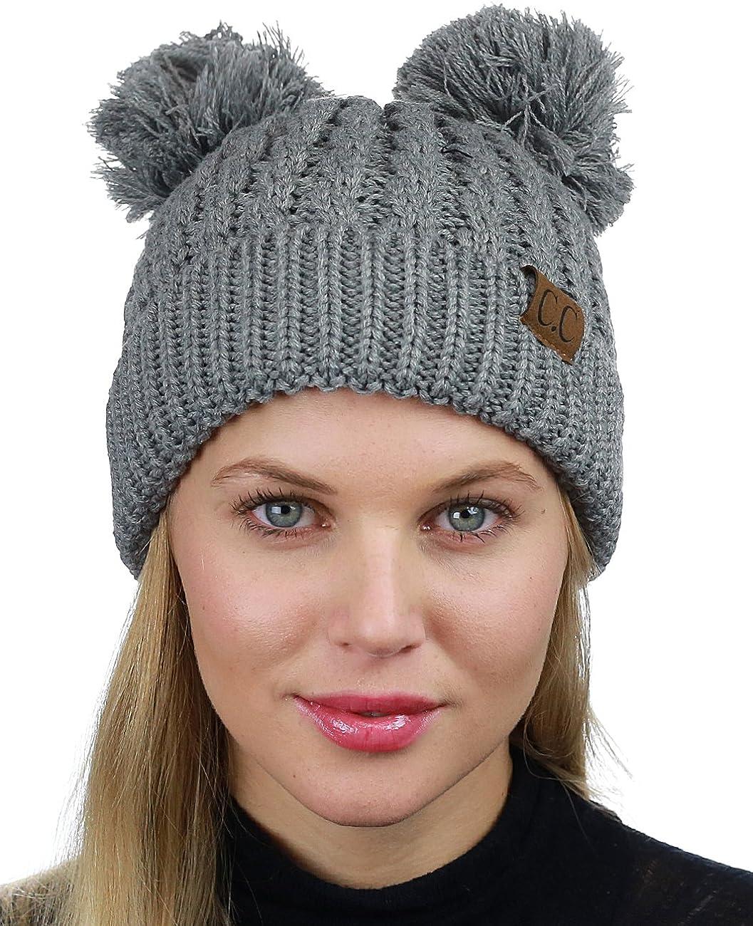 C.C Max 51% OFF 2 Ear Pom Cable Knit Cuff Soft Stretch Skully Cheap bargain Hat Beanie