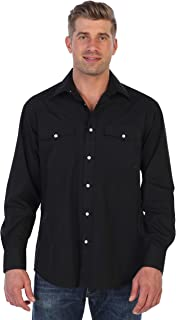 Gioberti Men's Solid Long Sleeve Western Shirt with Pearl Snap Buttons