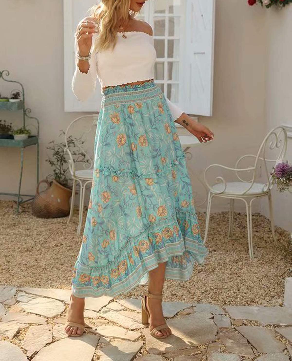 R.Vivimos Womens Floral Print Cotton Ruffled High Low Boho Midi Skirt