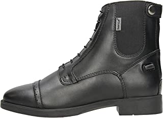 Horze Kilkenny Synthetic Leather Paddock Boots with Back Zip and Elastic Laces