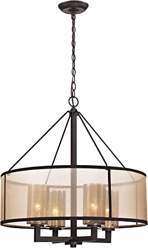 discount Elk Lighting 57027/4 Diffusion Collection 4 Light online Chandelier, Oil lowest Rubbed Bronze sale