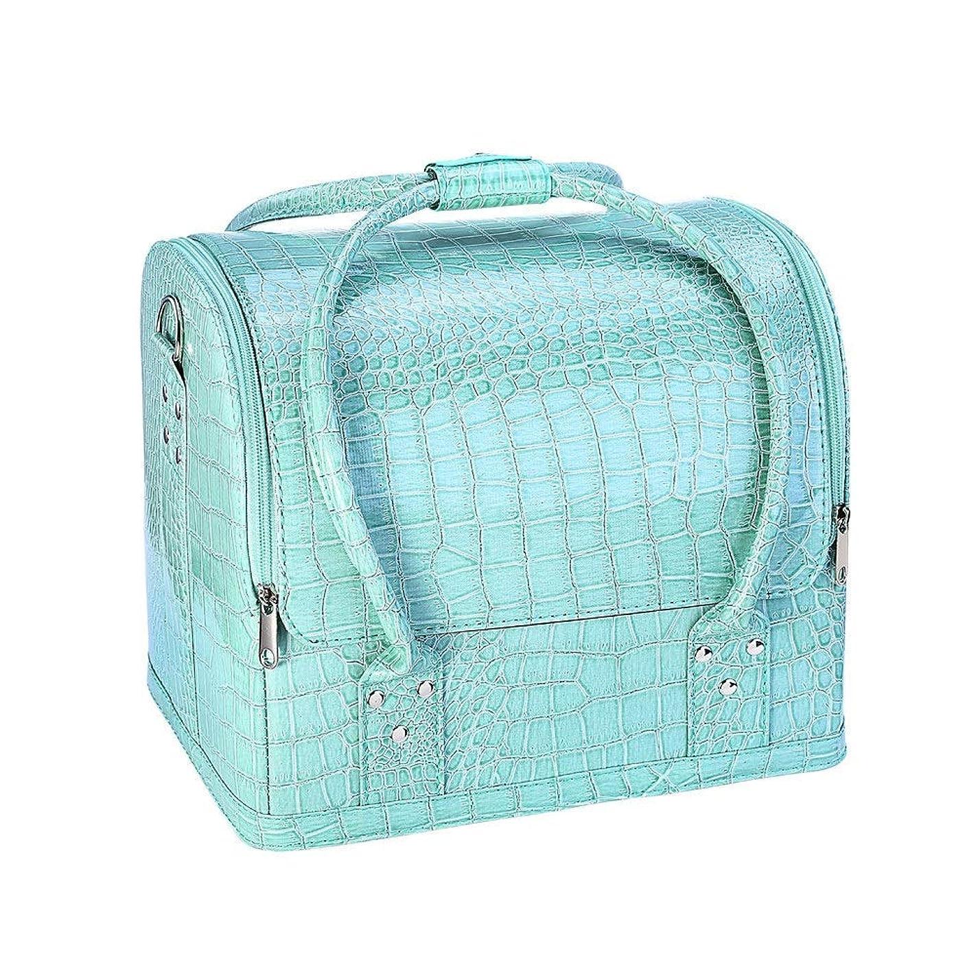 キャリアオズワルド柔らかい足化粧品袋 ネイル化粧品のバッグプロの美容ケースの美しさのケース化粧箱後援ワニ 旅行化粧収納ボックス (色 : 緑)