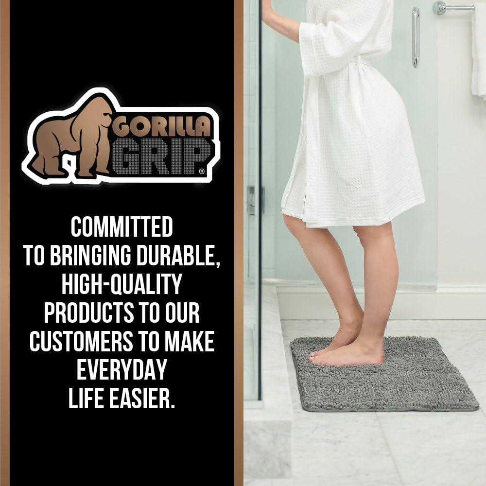 Gorilla Grip Soft Chenille Bathroom Rug Set, 2 Piece Area Rugs, U-Shape Contoured Toilet Base Mat & 30x20 Bath Mat, Absorbent Washable, Quick Dry Plush Mats for Tub, Shower, Bath Room Decor, Burgundy : Home & Kitchen
